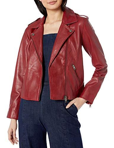 Lucky Brand Women's Long Sleeve Notched Lapel Leather Moto Jacket, Rhubarb, S