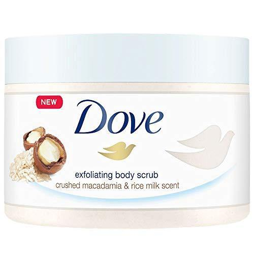 Dove Exfoliating Body Polish Body Scrub To Help Revive Dry, Dull Skin Macadamia & Rice Milk Polishes and Nourishes Your Skin 10.5 oz