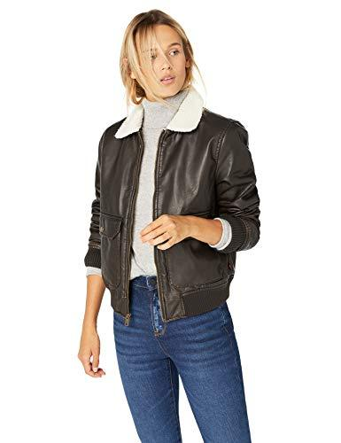 Levi's Women's Faux Leather Sherpa Aviator Bomber Jacket, dark brown, Medium