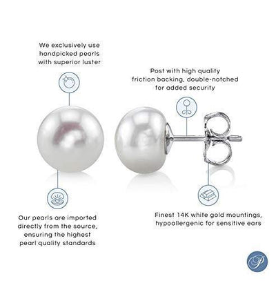 THE PEARL SOURCE 14K Gold 7-8mm Button White Freshwater Cultured Pearl Stud Earrings for Women