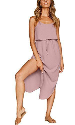 NERLEROLIAN Women's Adjustable Strappy Split Summer Beach Casual Midi Dress(shenfen,S)
