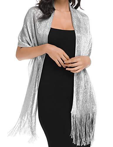 Shawls and Wraps for Evening Dresses (Silver)