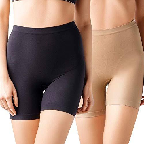 MD Women's Mid Tight Shorts Underwear Boyshort High Waist Panties Light Tummy Control Shapewear Small Black/Nude