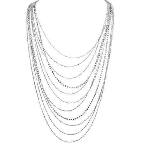 Humble Chic Waterfall Jewel Long Necklace Multi-Strand Statement CZ Rhinestone Chains, Extra Long Silver-Tone