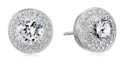 Amazon Essentials Sterling Silver Cubic Zirconia Halo Stud Earrings