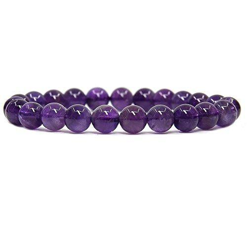 "Natural A Grade Purple Quartz Gemstone 8mm Round Beads Stretch Bracelet 7"" Unisex"
