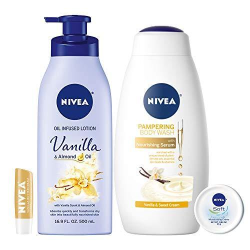 NIVEA Very Vanilla Self-Care Kit - 4 Piece Bundle with Body Lotion, Body Wash, Lip Balm, and Multipurpose Cream