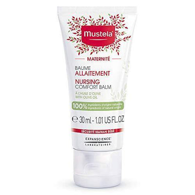 Mustela Maternity Nursing Comfort Balm - Nipple Cream for Breastfeeding - 100% Natural Ingredients & Olive Oil - Vegan & Fragrance Free - 1.01 fl. oz.