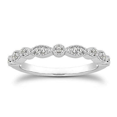 espere Milgrain Marquise & Round Cubic Zirconia Eternity Ring Stacking Infinity Wedding Band Sterling Silver Platium Plated or Rose Gold Plated Size 7.5