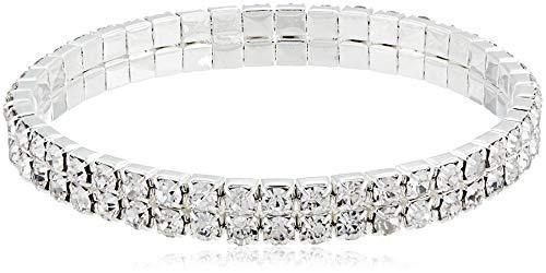 1928 Jewelry Silver-Tone Rhinestone 2 Row Stretch Bracelet