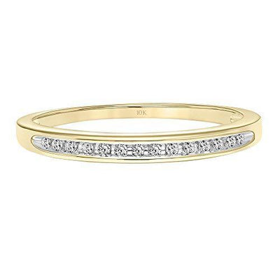 Brilliant Expressions 10K Yellow Gold 1/20 Cttw Conflict Free Diamond Channel-Set Wedding or Anniversary Band (I-J Color, I2-I3 Clarity), Size 8