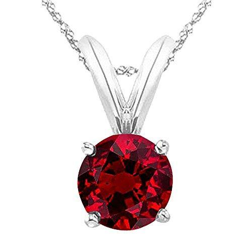 "Houston Diamond District 2/3 Carat 14K White Gold Round Ruby 4 Prong Solitaire Pendant Necklace (AAA Quality) W/ 16"" Silver Chain"
