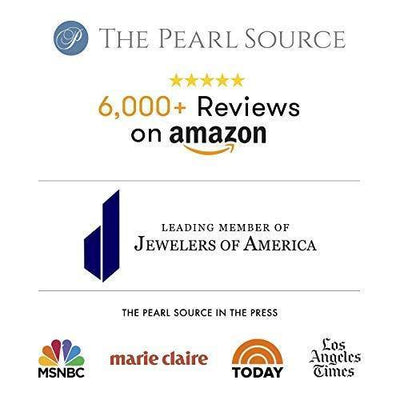 THE PEARL SOURCE 14K Gold 8.5-9mm Hanadama Quality Round White Akoya Cultured Pearl Pearl Stud Earrings for Women