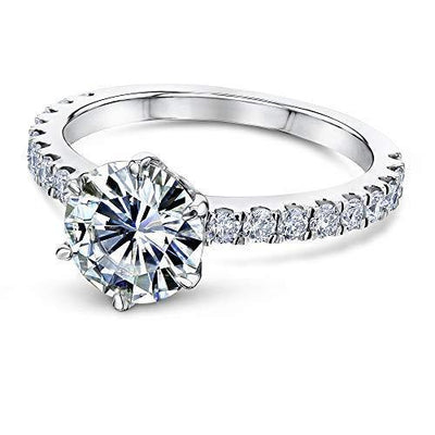 Kobelli 2-2/5ct.tw 6-Prong Solitaire Moissanite and Side Stone Classic Engagement Ring 14k White Gold (DEF/VS, GH/I1-I2), 4.5