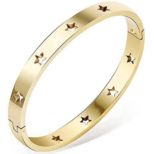 Jude Jewelers Stainless Steel Stars Open Clasp Classical Plain Bangle Bracelet (Gold)