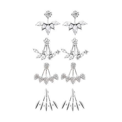 4 Pair Flower Lotus Earring Jacket for Women Water Drop Stud Ear Jacket for Girls Simple Jewelry