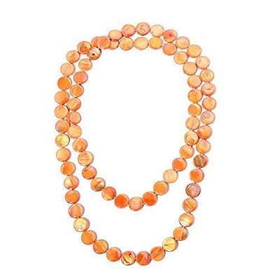 Shop LC Delivering Joy Beads Strand Endless Necklace for Women Orange Shell Fashion Jewelry 46""