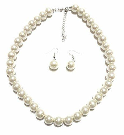 PEARL Large Faux Necklace and Earring Set by Millennium Design