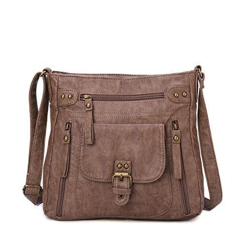 KL928 Crossover Purse and Handbags Crossbody Bags for Women Soft Leather Wallet Small Neatpack Bag with Pockets Brownness
