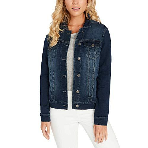 Buffalo David Bitton Womens Knit Denim Jacket (Dark Denim Wash, Large) - PRTYA