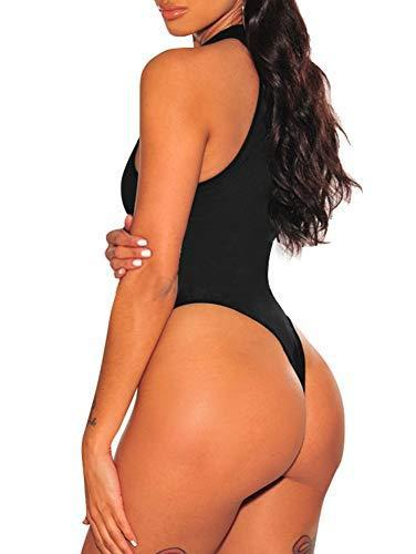 TOB Women's Sexy Sleeveless Bodysuit Tops High Waist Bodycon Scoop Neck Leotard Black