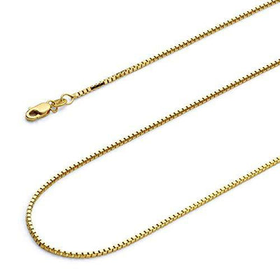 14k REAL Yellow Gold Solid 1.1mm Box Link Chain Necklace with Lobster Claw Clasp - 20""