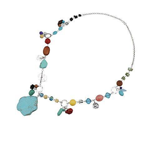 Bocar Personalized Long Antique Silver Chain Turquoise Pendant Glaze Necklace for Women Gifts (296)