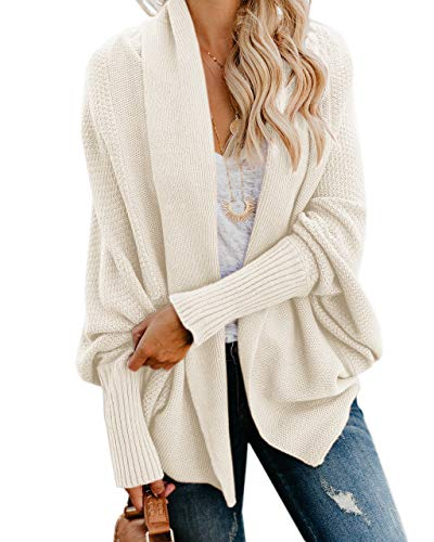 Ybenlow Womens Kimono Open Front Cardigan Sweaters Batwing Sleeve Shawl Collared Oversized Sweater Cloak Outwear (Small, White)