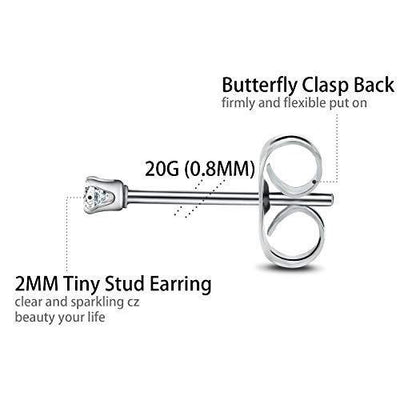8 Pairs Stud Earrings Stainless Steel Round Clear CZ Tiny Earrings Set for Women Men