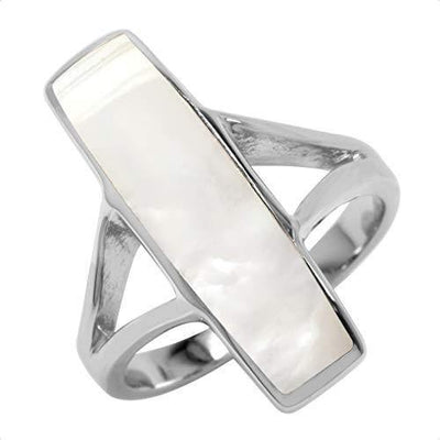 Silvershake Long Mother of Pearl Inlay White Gold Plated 925 Sterling Silver Ring Size 11