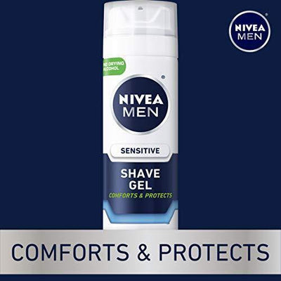 Nivea Men Sensitive Shaving Gel - Protects Sensitive Skin From Shave Irritation - 7 Ounce (Pack of 3)