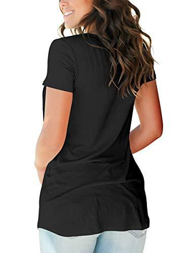 Womens Tops Casual Short Sleeve Shirts Summer Tops Plus Size Tunic Black XXL