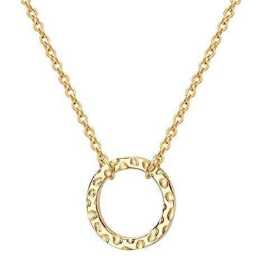 Forevereally Dainty Disc Chokers Necklace Layered Circle Necklace Bar Y Pendant Necklace 14K Real Gold Plated Necklace for Women (Single Circle Necklace)