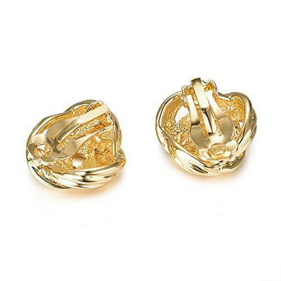 Yoursfs Knot Clip On Earrings for Women 18k Yellow Gold Plated Three Knot Clip On Statement Earrings