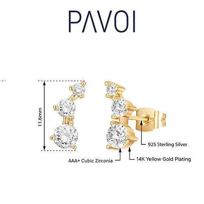 PAVOI 14K Gold Plated Sterling Silver Post Mini Constellation Yellow Gold Cubic Zirconia Ear Crawler Earrings - Tiny Faux Diamond Sterling Silver Post Ear Climber Fashion Earrings for Women or Girls