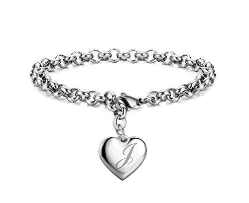 Monily Initial Charm Bracelets Stainless Steel Heart Letters J Alphabet Bracelet for Women
