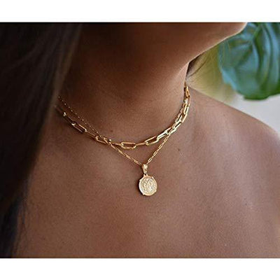 MONOOC Medallion Coin Choker Necklaces for Women, Layered Coin Neckalces for Women, Paper Clip Link Choker Necklace Rectangle Dainty 14K Gold Plated Tiny Beaded Oval Link Chain Necklace