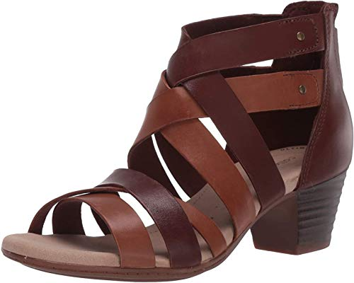 Clarks Women's Valarie Dream Heeled Sandal, Dark Tan Combi Leather, 85 M US