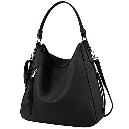 Hobo Handbags for Women Large Waterproof Leather Purses Ladies Tote Satchel Purse Shoulder Bag,Black