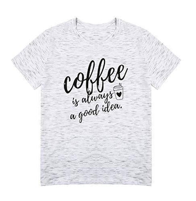 Coffee is Always A Good Idea Letter Print Shirt for Women Short Sleeve Graphic Tee Shirts Tops with Funny Sayings (Grey, L) - PRTYA