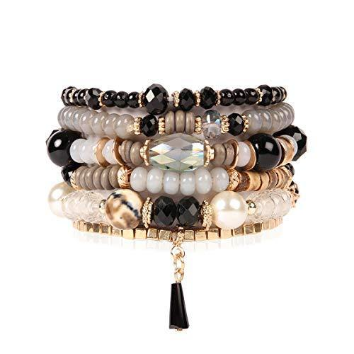 Bead Multi Layer Versatile Statement Bracelets - Stackable Beaded Strand Stretch Bangles Sparkly Crystal Mix, Tassel Charm (Black)