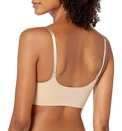 Calvin Klein Women's Invisibles Wirefree Lightly Lined Triangle Bralette, Bare, X-Large - PRTYA