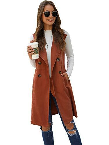 SheIn Women's Double Breasted Long Vest Jacket Casual Sleeveless Pocket Outerwear Longline Brown Small