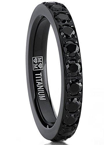 3MM Ladies Black Titanium Eternity Engagement Band, Wedding Ring with Black Pave Set Cubic Zirconia 8