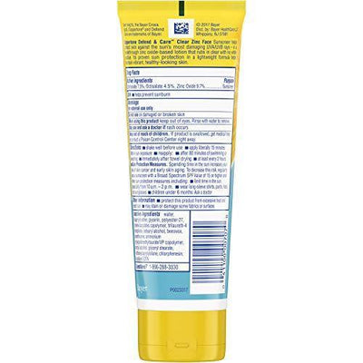 Coppertone Defend & Care Clear Zinc Sunscreen Face Lotion Broad Spectrum SPF 50 (3 Fluid Ounce) (Packaging may vary)