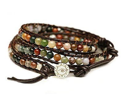 "BLUEYES COLLECTION ""Hot Mix Color India Agate Stainless Steel Snap Button Lock Genuine Leather Bracelet"