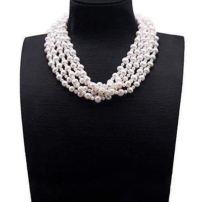 JYX Multi Strand Pearl Necklace 5x10mm White Freshwater Cultured Pearl Necklace for Women 20""