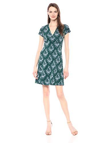 Amazon Brand - Lark & Ro Women's Cap Sleeve Deep V Neck Fit and Flare Dress, Emerald/Pale Blue Delicate Floral, 4 - PRTYA