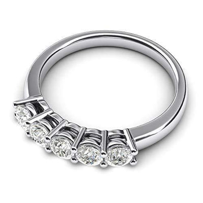 Solid Sterling Silver Eternal Five Stones Anniversary Ring Simulated Brilliant Diamonds Eternity ring 1.25ctw for Women (9.5)