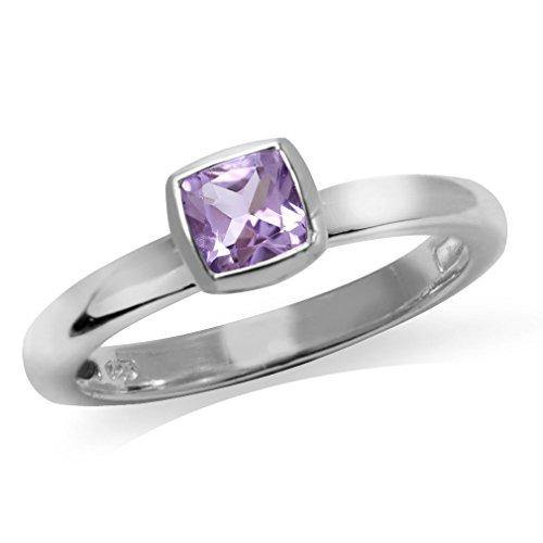 Silvershake Genuine Cushion Cut Amethyst 925 Sterling Silver Stack Stackable Solitaire Ring Size 7